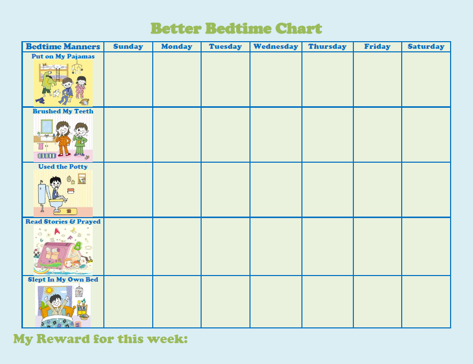 Better Bedtime Sticker Chart I Made This For My Son Logan Today