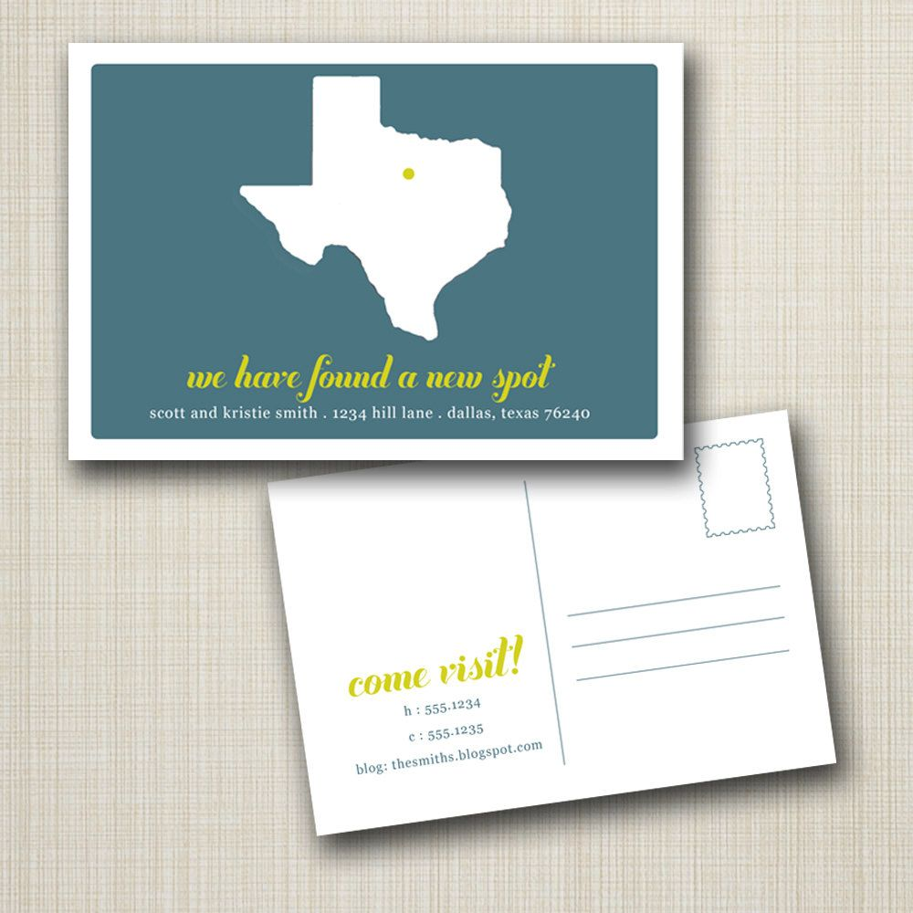 really cute Texas moving announcements - set of 25 cards $45.00, via ...