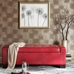 Madison Park Mirage Bench Storage Ottoman With Tufted Top - Red - 50.78Wx20.07Dx16.9H