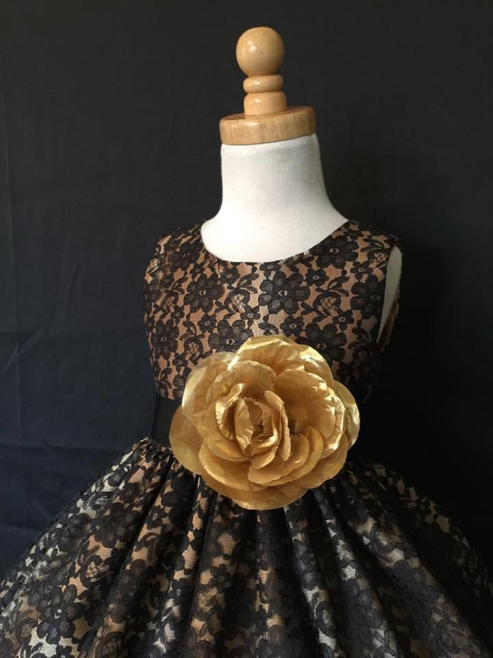 30.84$  Buy here - http://vihmj.justgood.pw/vig/item.php?t=yg2zn6038936 - Flower Girl Bridesmaids Vintage Black Floral Wedding Recital Girl Dress #34 30.84$