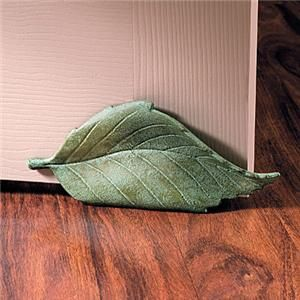 Decorative Door Stoppers Green Leaf Cast Iron Stop Home Decor New