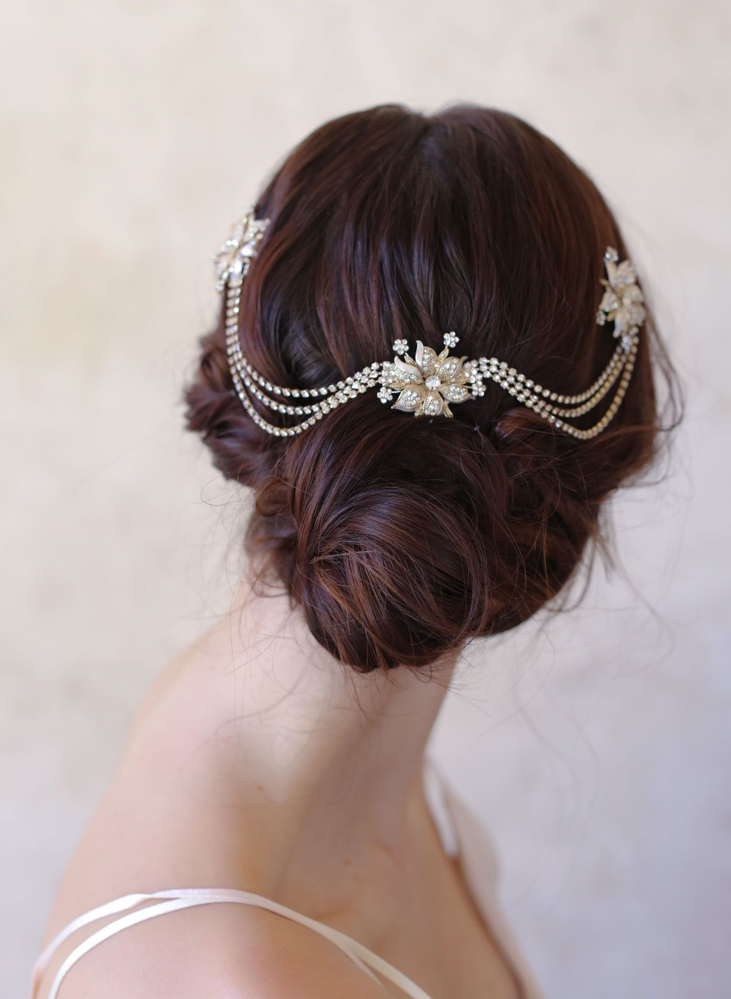 triple flower and swag headpiece - style #514 | headpieces, swag and