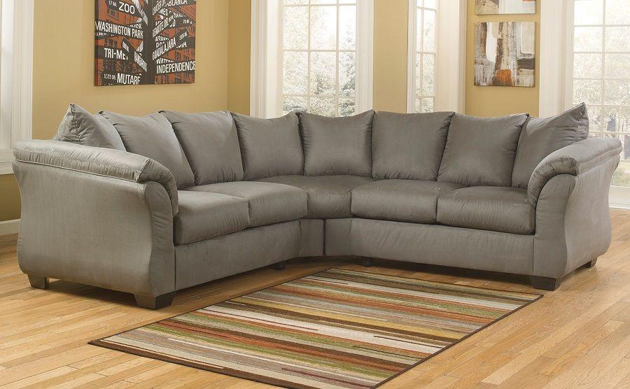 Ashley Furniture Darcy Sage 75005 Curved Arm Sectional Sofa Long Beach Los Angeles Ca San Dieg Contemporary Sectional Sofa Sectional Sofa Couch Sectional Sofa