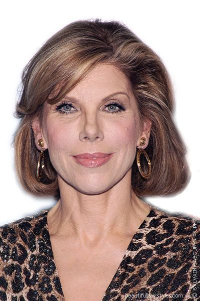 Christine Baranski in Stylish Srt Hairstyle with Dark Blonde ...