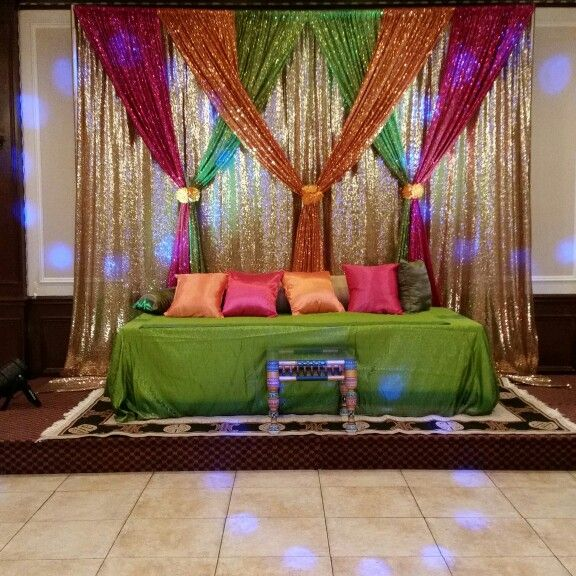Mehendi stage indian wedding decorations flower mehndi decor also night at the house for home wed rh pinterest