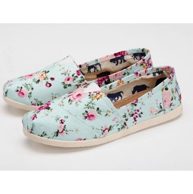 Summer Flower Print Canvas Shoes ($32.99) | Toms shoes
