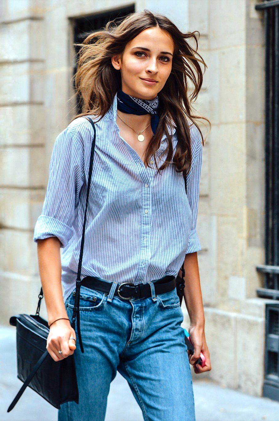 Add a bandana as a scarf to any outfit to make it a little western