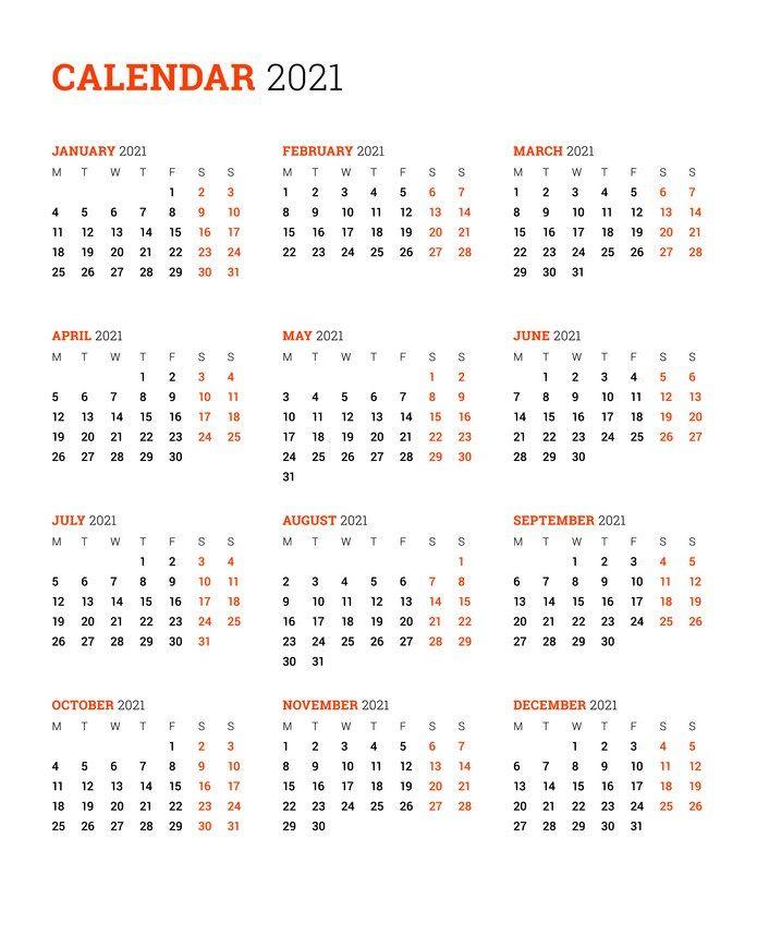 2021 Vertical Calendar in 2020 | Monthly calendar template ...