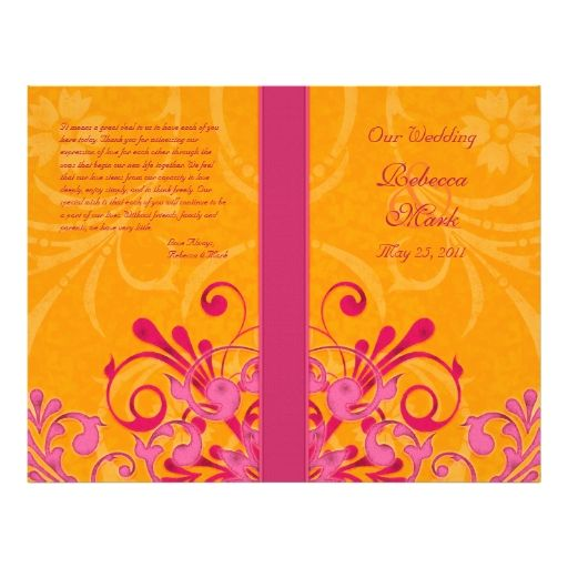 Pink And Orange Abstract Floral Wedding Program Flyer Design
