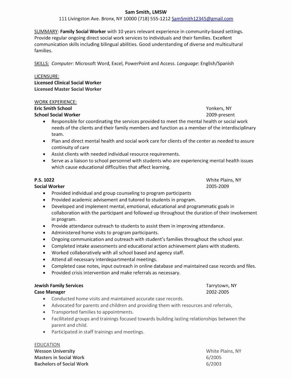 Entry level social work resume lovely sample resume family