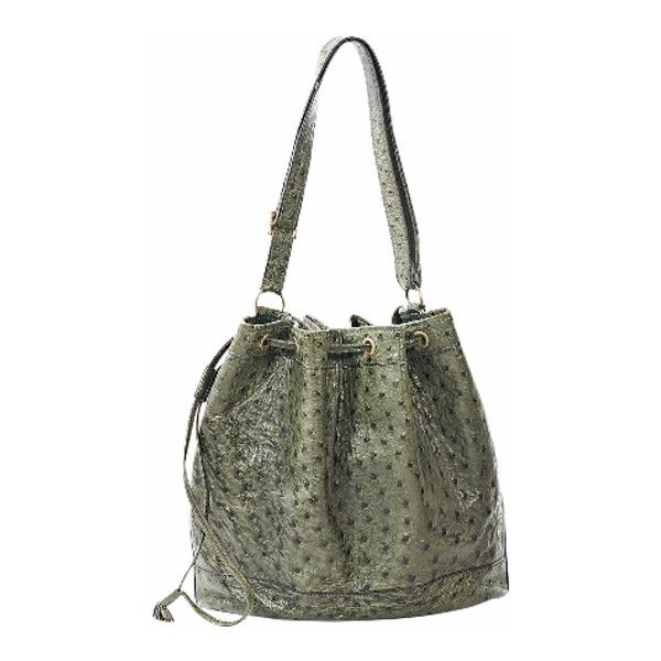 Pre-Owned Green Hermes Ostrich Bucket Bag (27.087.630 IDR) ❤ liked on Polyvore featuring bags, handbags, green, drawstring handbags, strap purse, hermes bag, pre owned purses and hermes handbags