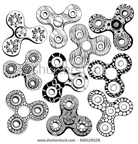 Set Of Fidget Spinners Isolated On A White Background In Zentangle