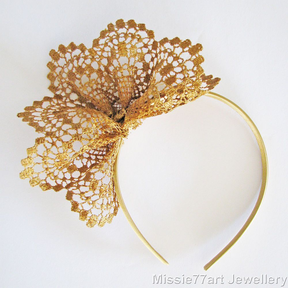 Gold Fascinator Neisha Lace Flower Crown Races Headpiece Racing Headband | eBay