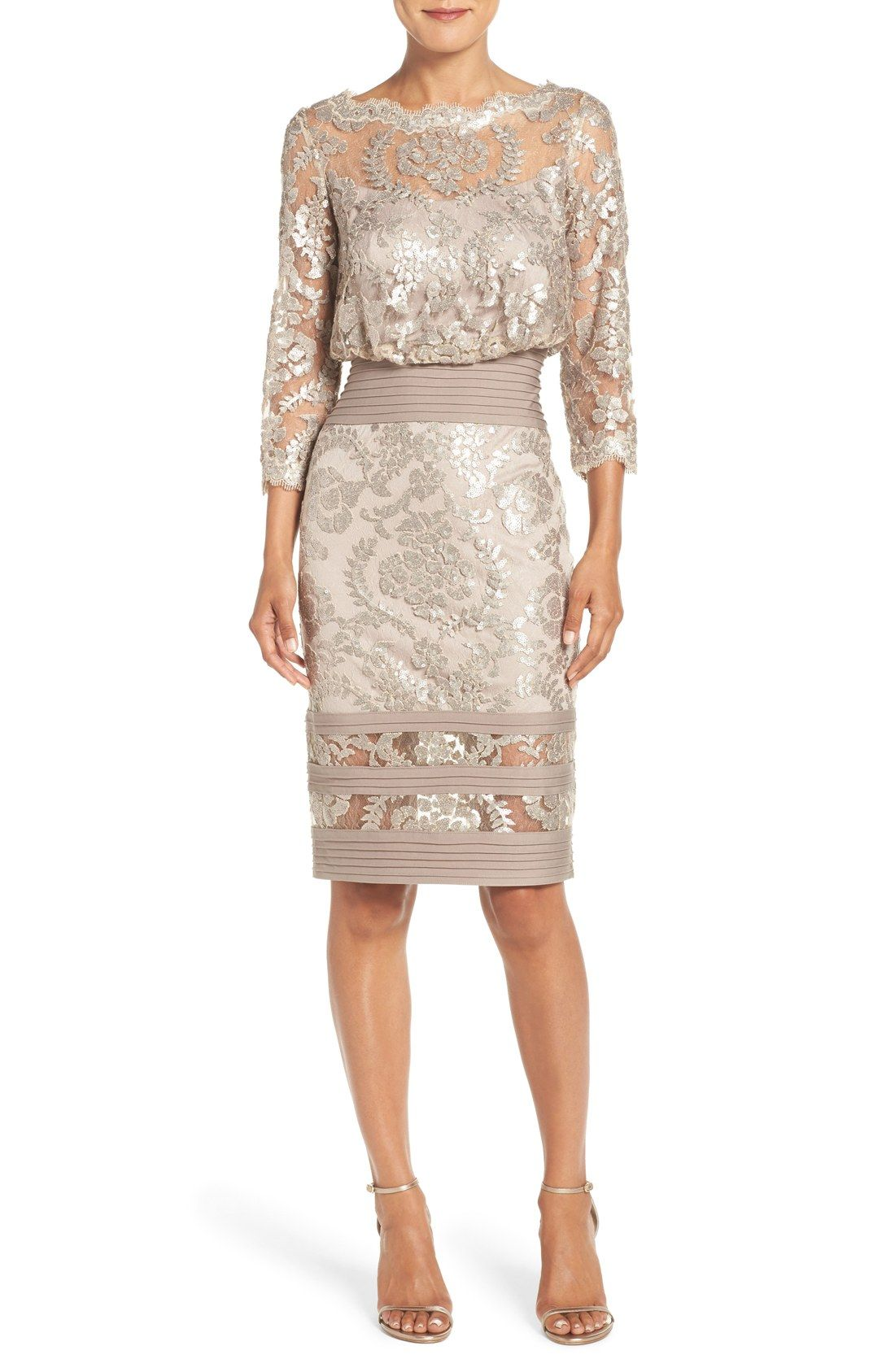 Is It Ok For The Mother Of The Bride Or To Wear A Champagne Color Gown 1 Strapless Rene Ruiz Jacquard Gown Trendy Dresses Lace Sheath Dress Bride Clothes