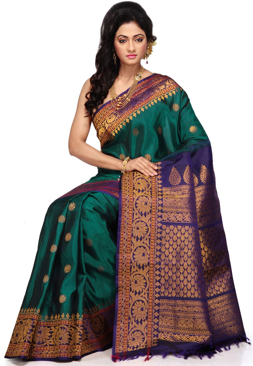 3a50971885054 Buy Dark Teal Green and Blue Pure Gadwal Handloom Silk Saree with Blouse  online