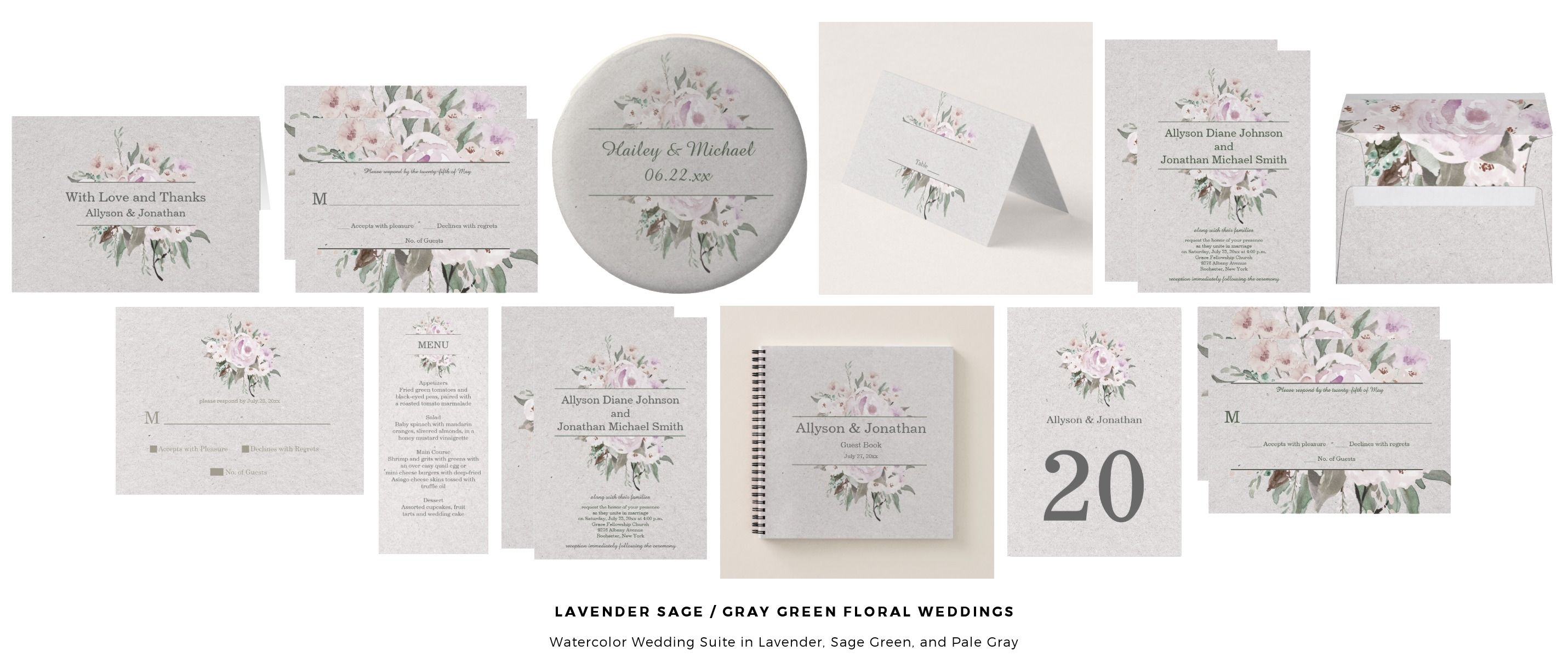 Lavender Sage Gray Green Floral Weddings Watercolor Wedding