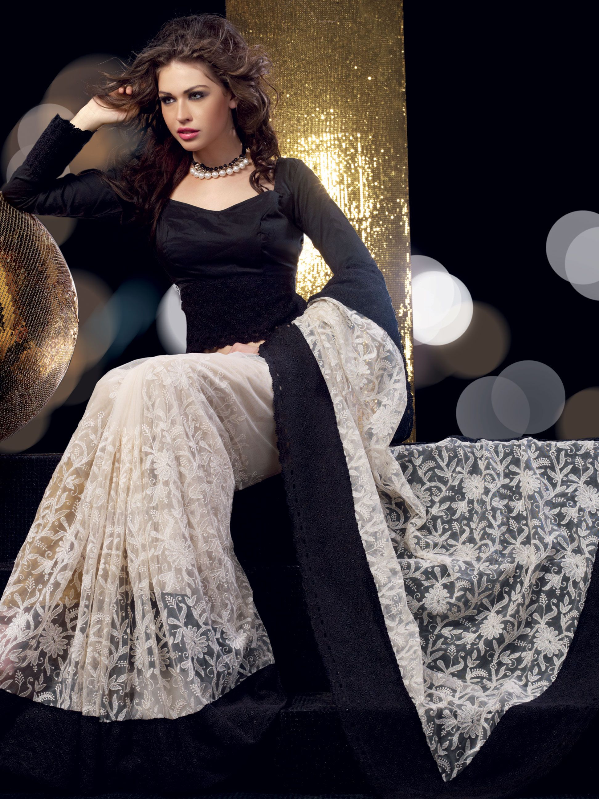 Off White and Black Net Saree with Blouse | Stylish sarees ...