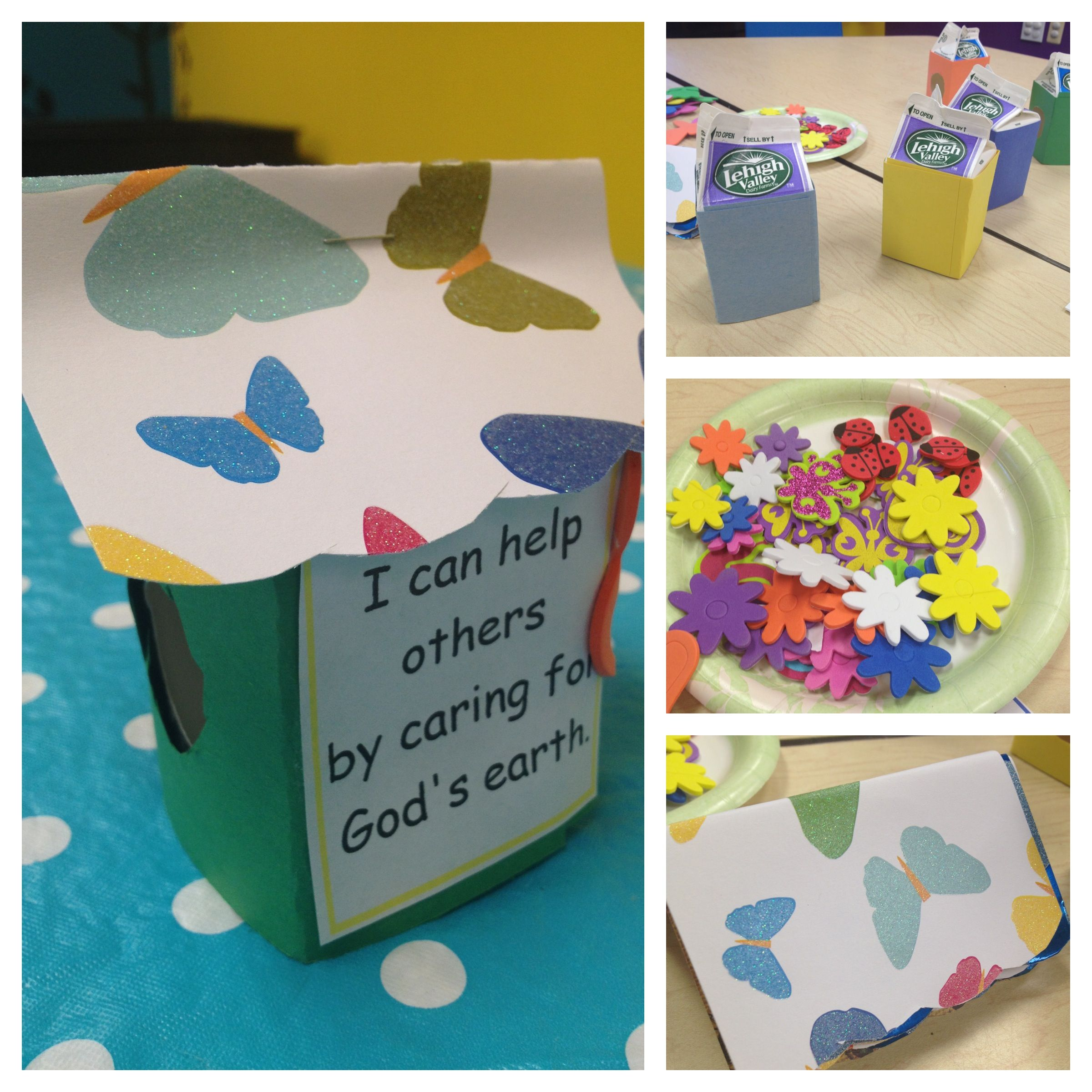 Sticky paper for crafts - Kids Church Craft Birdhouse With Milk Carton Construction Paper Decorated Paper For Roof