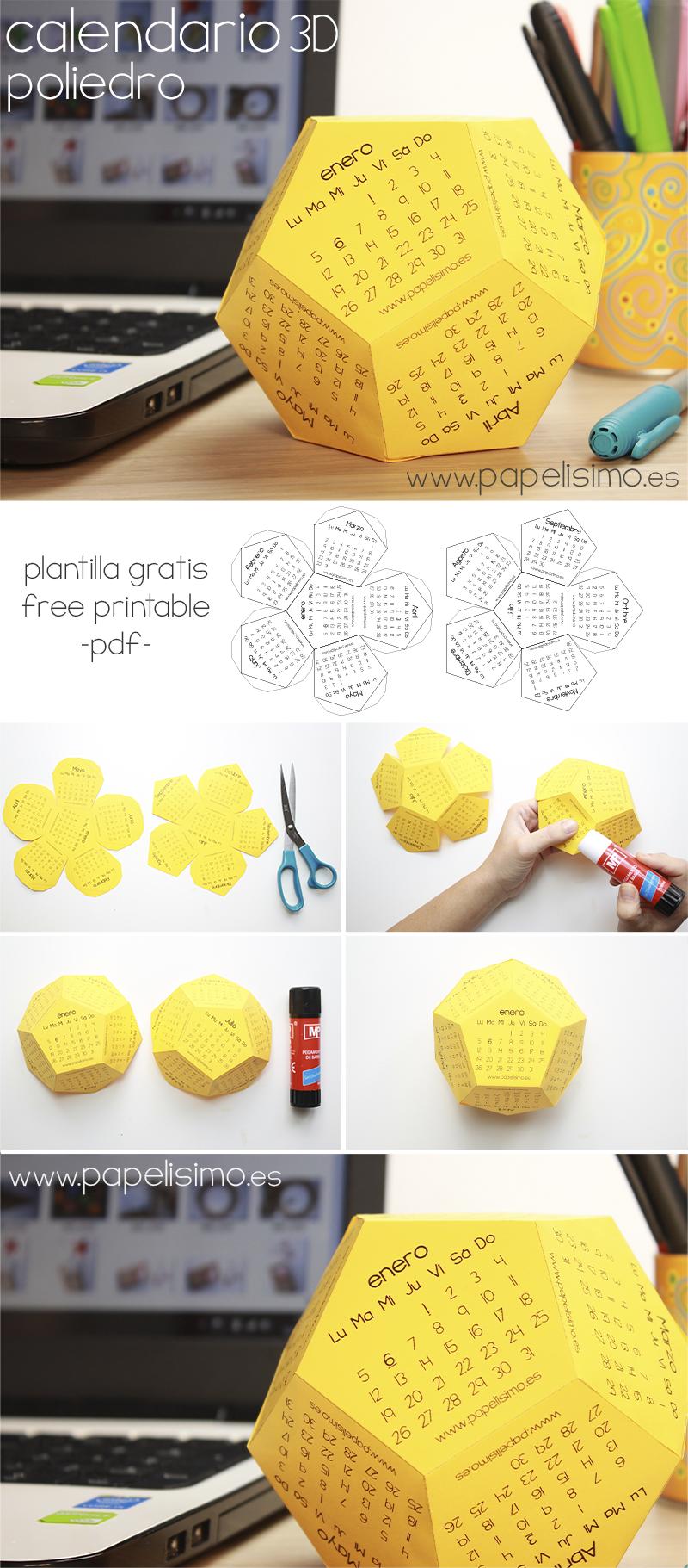 Los Chicos Del Calendario Pdf.Calendario 3d Poliedro Plantilla Para Imprimir Pdf Gratis Con Los
