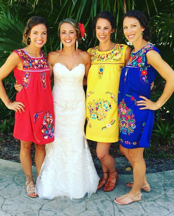 Bridesmaids With Mexican Dresses