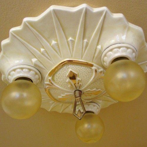 1930s Art Deco Porcelier porcelain light. ideal for bath