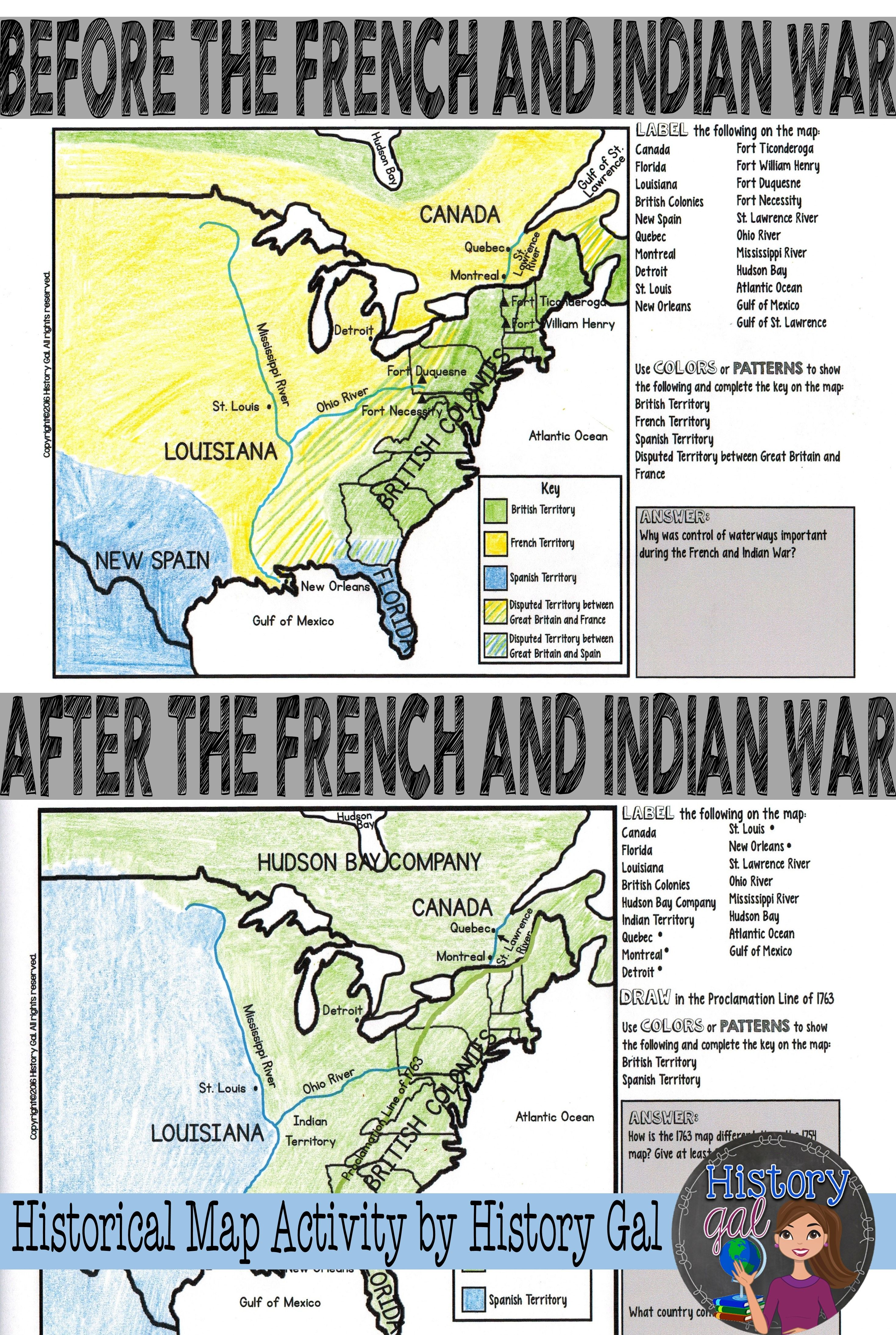 French And Indian War Map Activity Social Studies Middle School