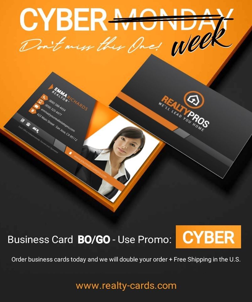 Cyber Week At Realty Cards Real Estate Agent Business Cards Keller Williams Business Cards Real Estate Business Cards