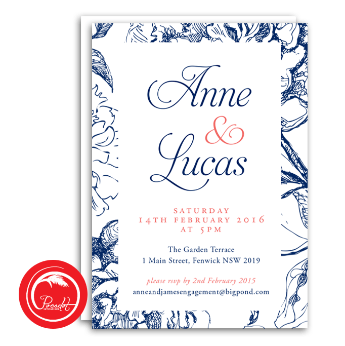 Navy Blue Coral and Floral Engagement Invite Engagement