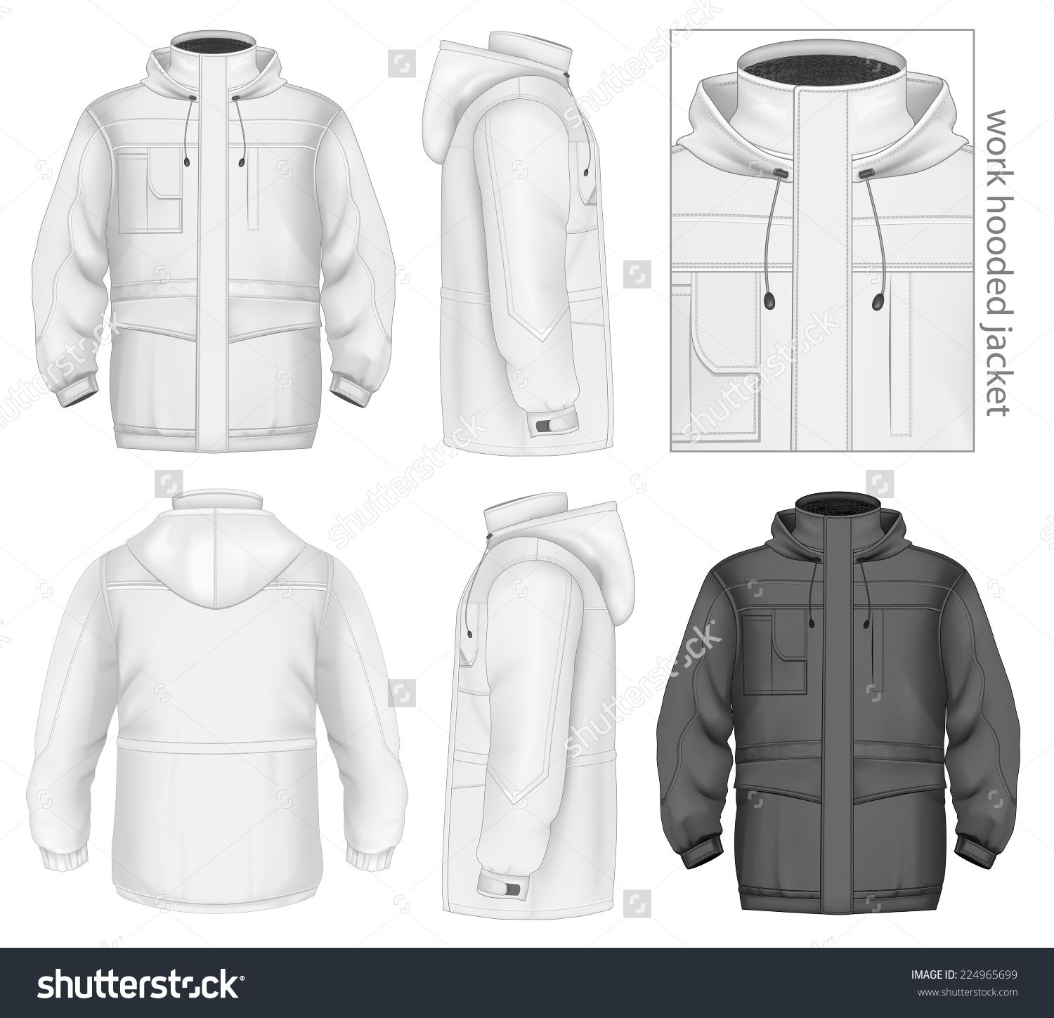 Men S Work Hooded Jacket Front Back And Side Views Vector
