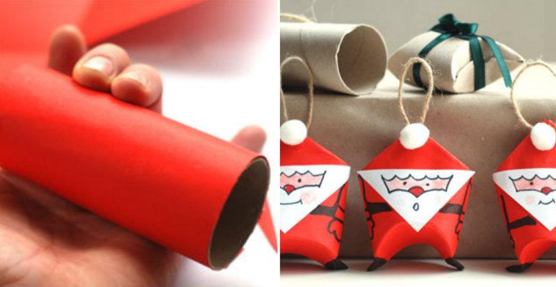 Weihnachtsmänner zum Füllen und Anhängen aus Klopapierrollen.