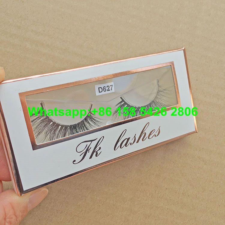 ad25a4247b6 White Custom Design Rose Golden False Eyelash Box Packaging With Clear PVC  Window eyelash packaging box