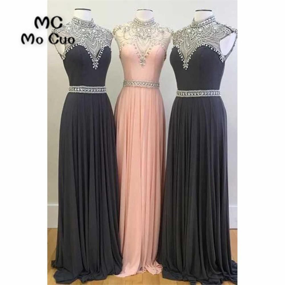 Bling womenus prom dresses long with jewels crystals high neck