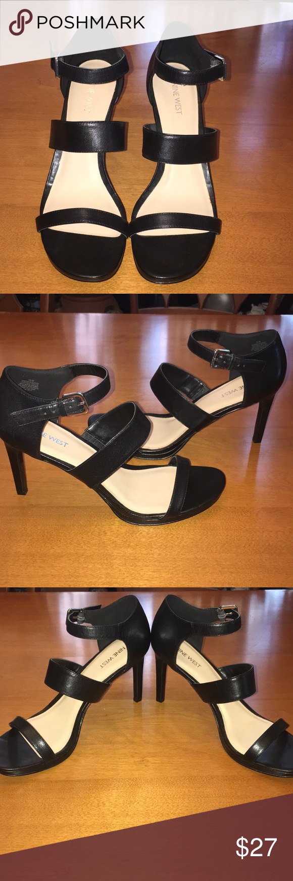 0692e0235e Nine West black leather strapped high heel sandal Nine West Strapped  sandals Heels 10 NWOT Brand new never worn without box Silver buckle Leather  Black Nine ...