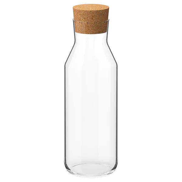 IKEA 365+ Botella+tapón, vidrio incoloro, corcho, volumen: 1