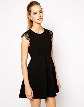 Bcbgeneration Dress With Lace Cap Sleeve Black Lace Mini