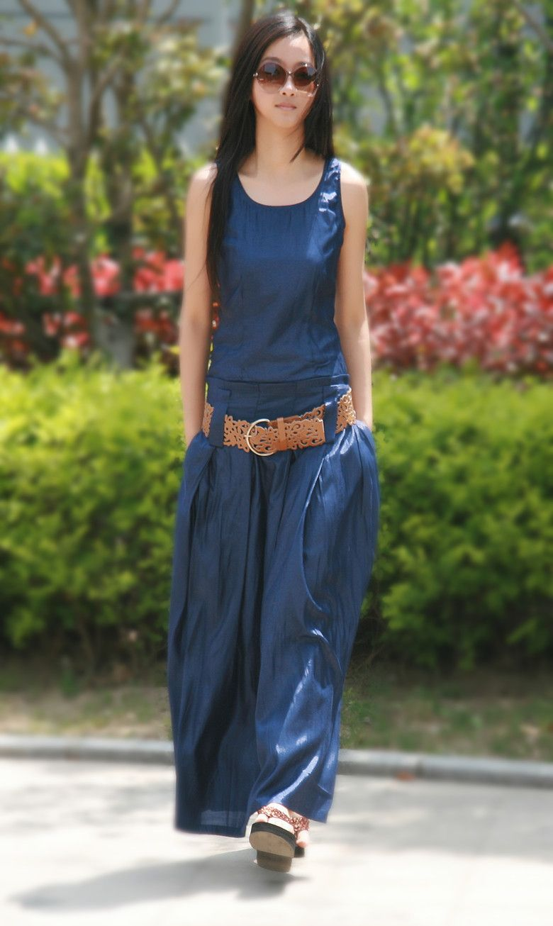 vestido largo en tela jean - Buscar con Google  47e1fcb90be5
