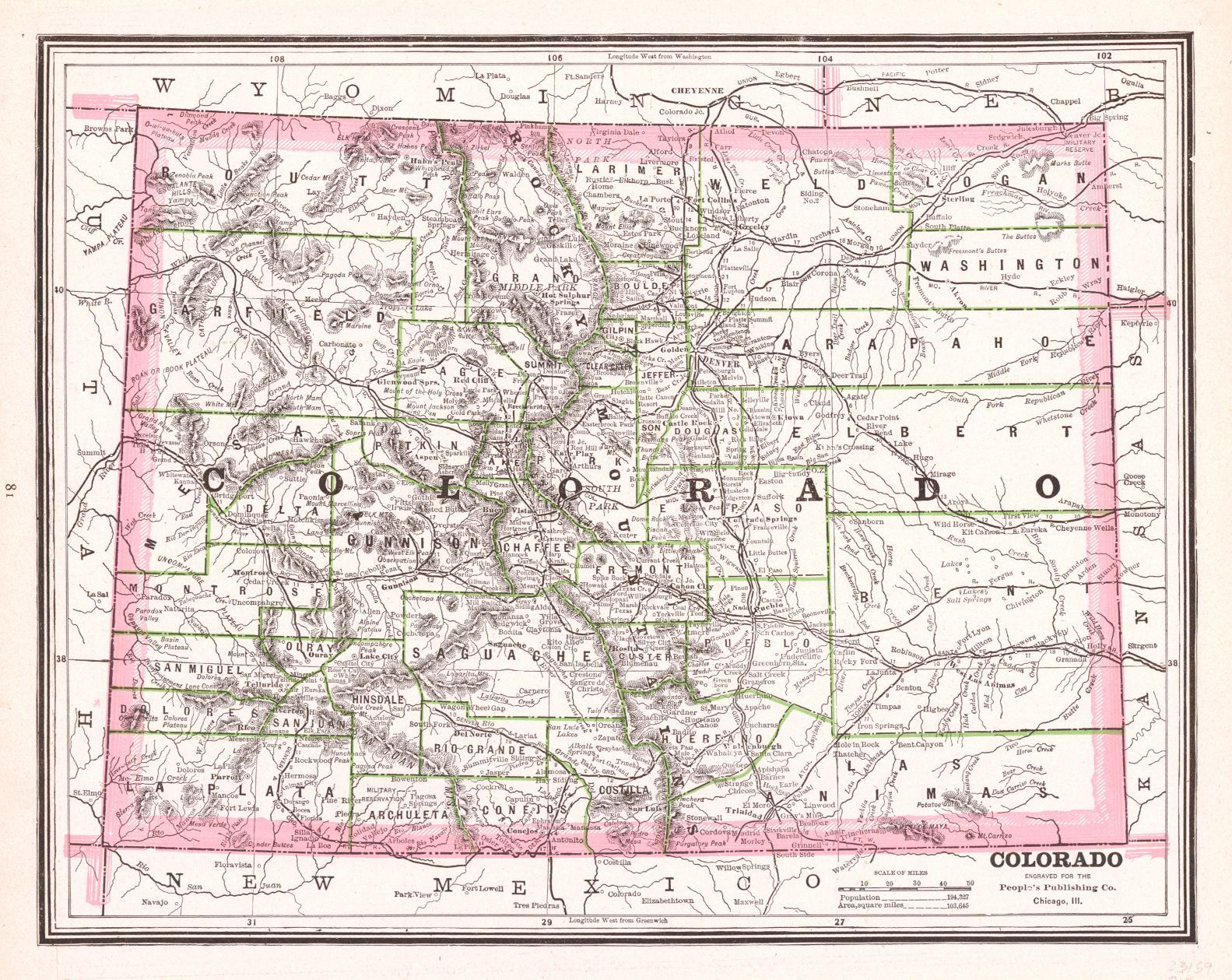"""Map Antique. Colorado.  People's Publishing Co. 1888. Chicago.  """"engraved for the People's Publishing Co. Chicago, Ill."""" 81. Good topographic detail. New Mexico on reverse."""