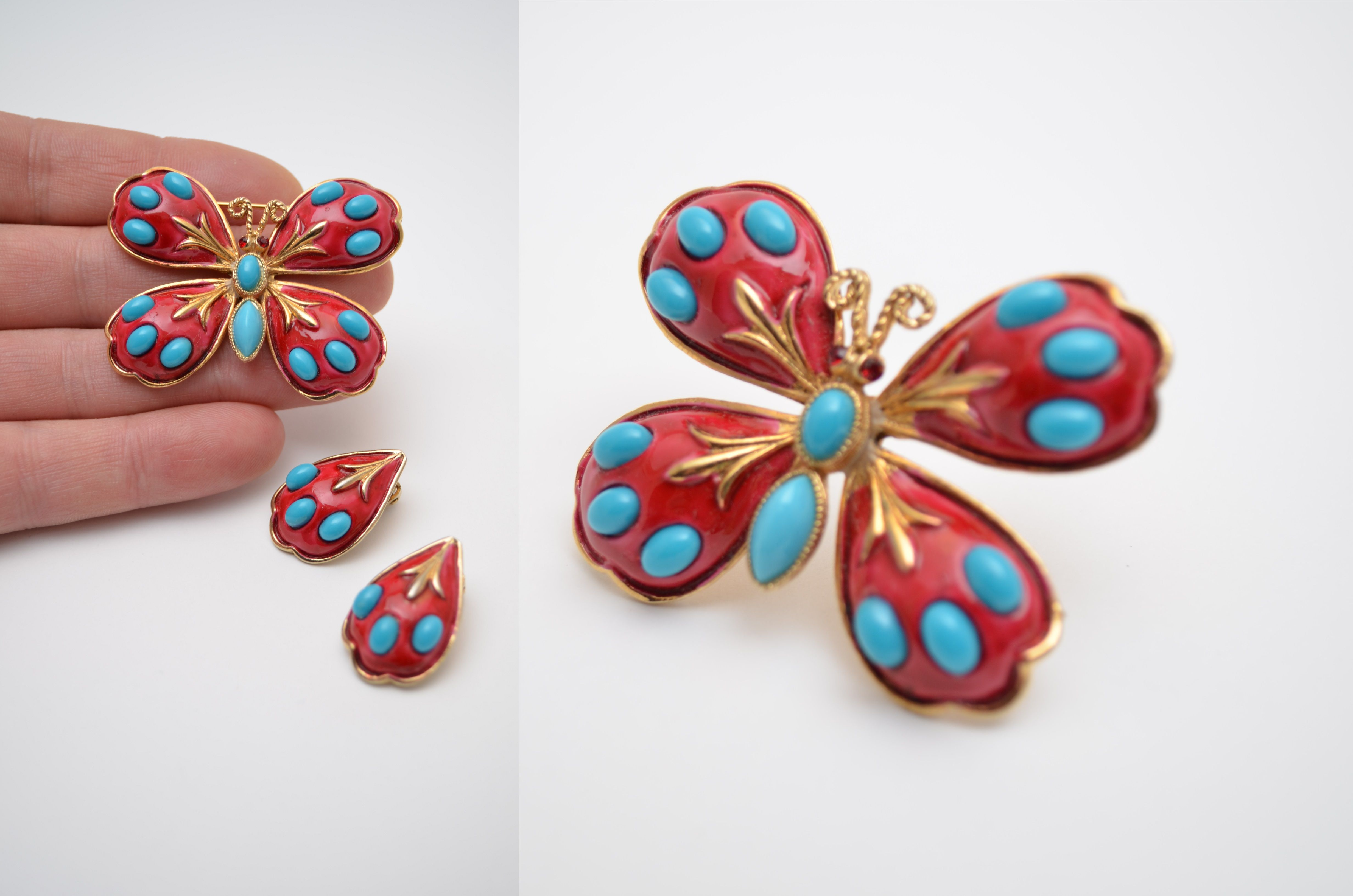 Details about har vintage jewelry set butterfly brooch pin