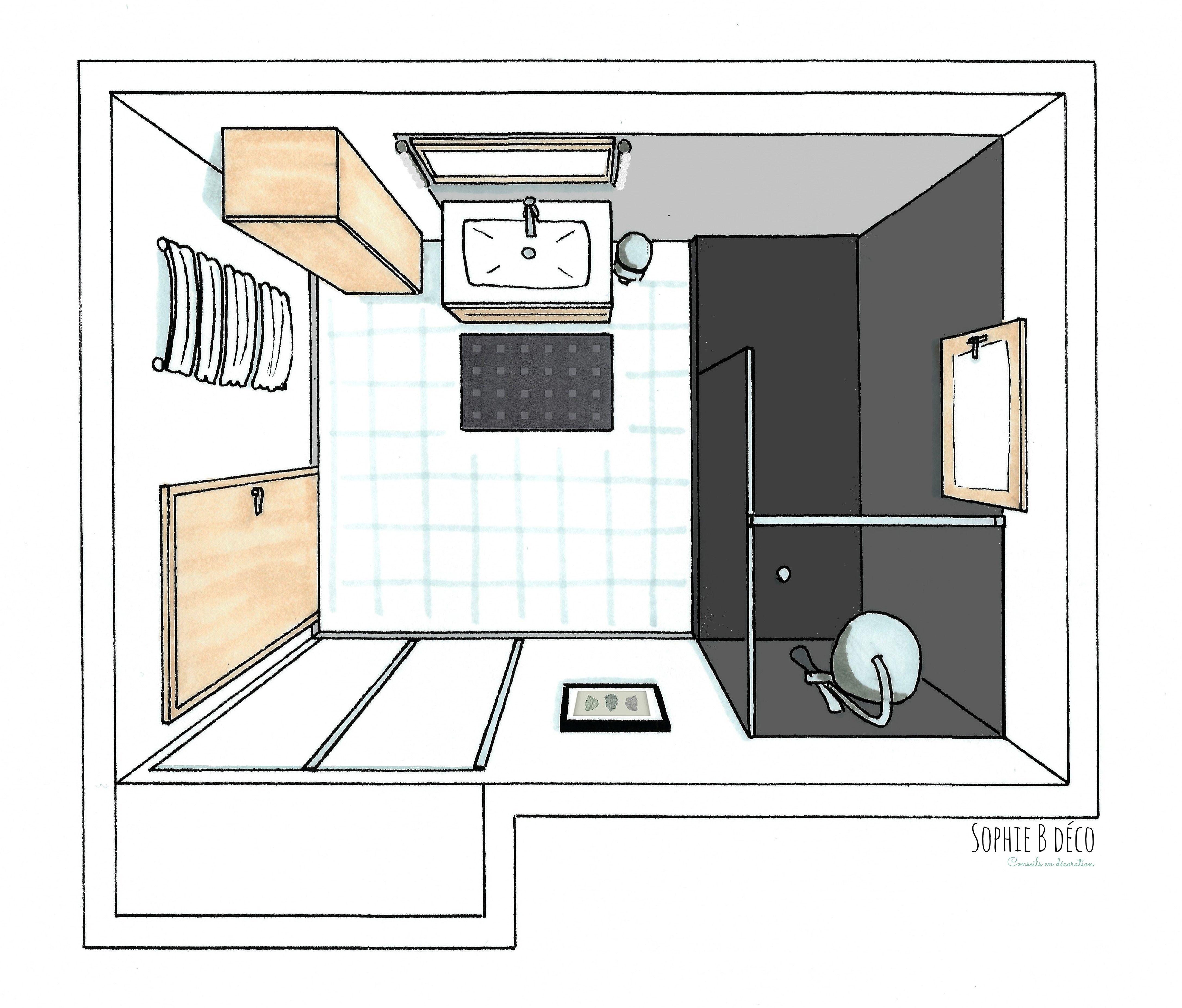 rà novation salle de bain gris blanc bois croquis idee salle de