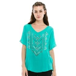 Ladies' Vocal Turquoise S/S Studded Knit Top......