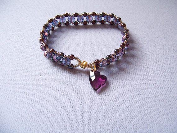 Beaded Amethyst Purple and Gold Heart Bracelet