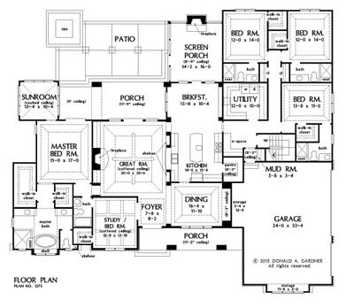 Home Plan The Harrison By Donald A Gardner Architects House Plans One Story How To Plan New House Plans