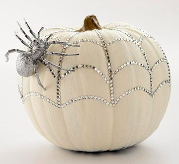 Sparkly White Pumpkin - Jewels add a very girly glam look.