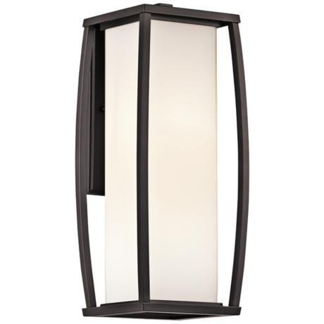 "300; 18"" in stores; Kichler Bowen 18"" High Bronze Outdoor Wall Light | LampsPlus.com"