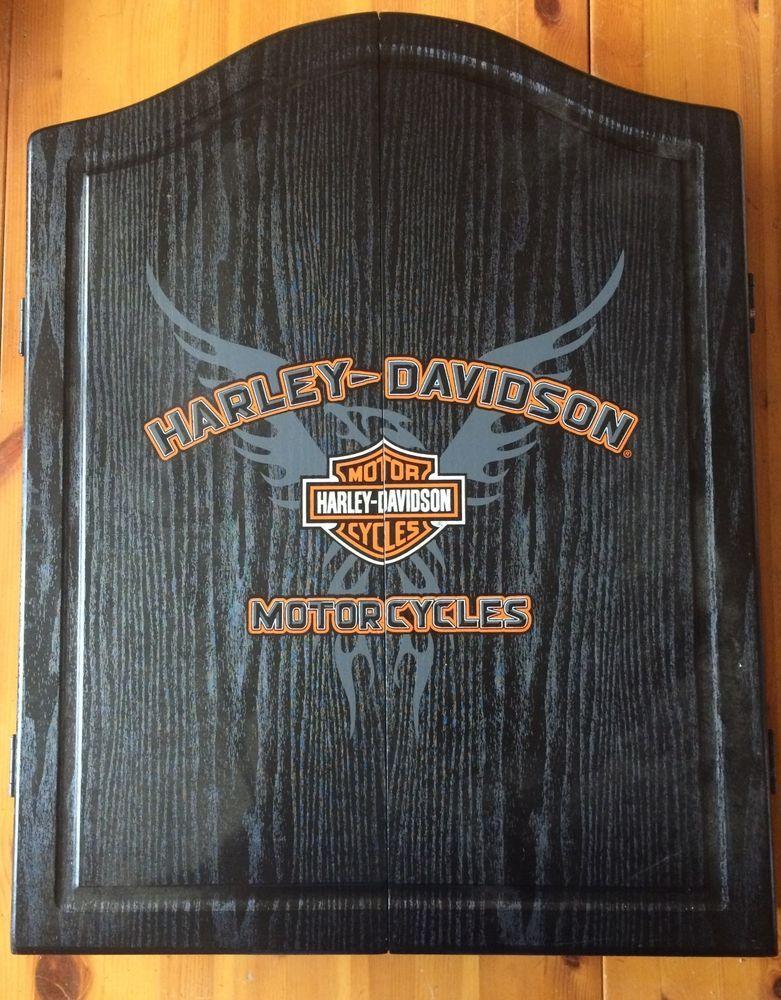 Charming Harley Davidson Dart Board Cabinet U0026 Set New Never Used Dart World 2007  Black