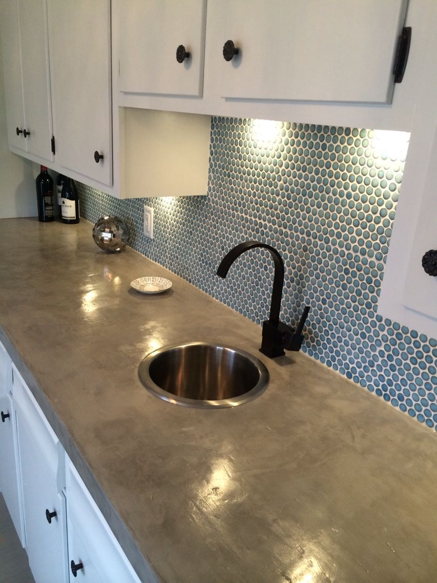 Wet bar with diy cement countertop and porcelain mosaic penny tile wet bar with diy cement countertop and porcelain mosaic penny tile backsplash in marine dailygadgetfo Images