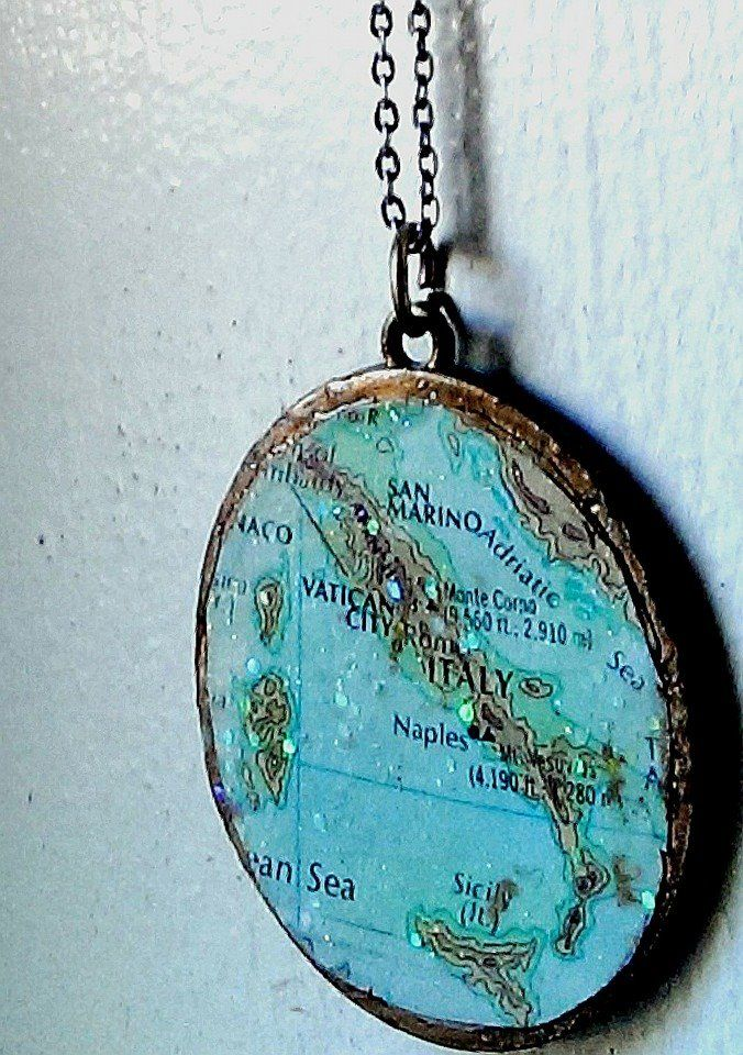Made by rechaining a broken pendant decoupaging and old map and made by rechaining a broken pendant decoupaging and old map and glazing over aloadofball Choice Image
