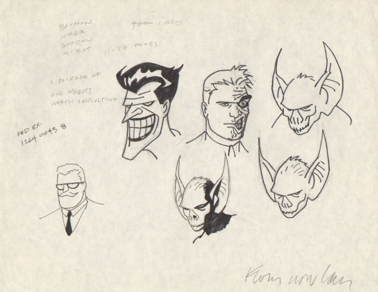 Batman The Animated Series Character Design Sketches By Kevin