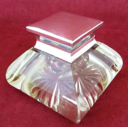 Antique-British-Ink-Well-Sterling-Silver-Cut-Glass-1892-John-Grinsell-Sons