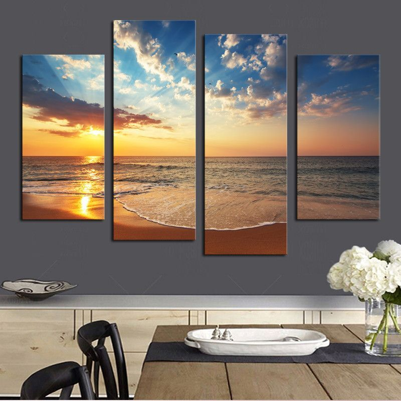 4 Pcs (No Frame) HD Sunset Seaview Wall Art Picture Home Decoration Living  Room